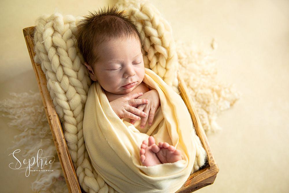 een newborn in het creme tijdens een newbornshoot in Eindhoven